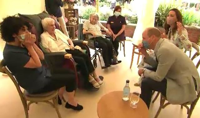 William and Kate roar with laughter after pensioner swears at prince during care home visit