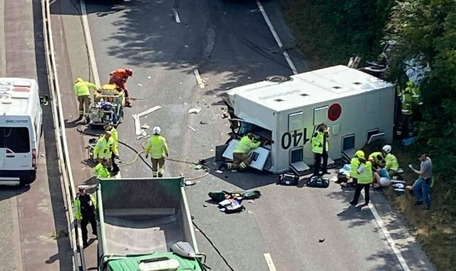 Inmate and guards seriously injured as prison van crashes on A27