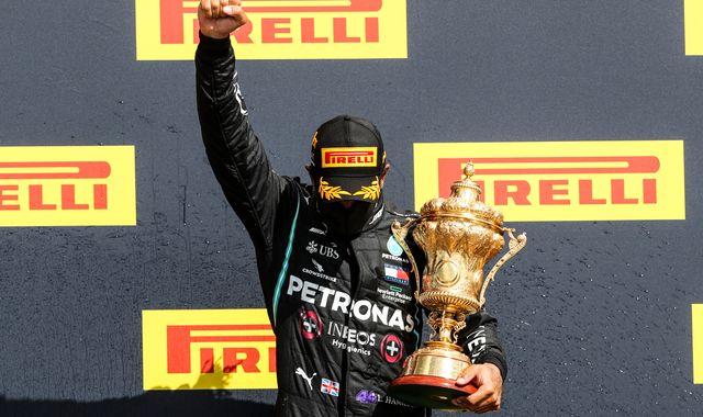 British GP: Lewis Hamilton just beats Max Verstappen despite late Mercedes punctures