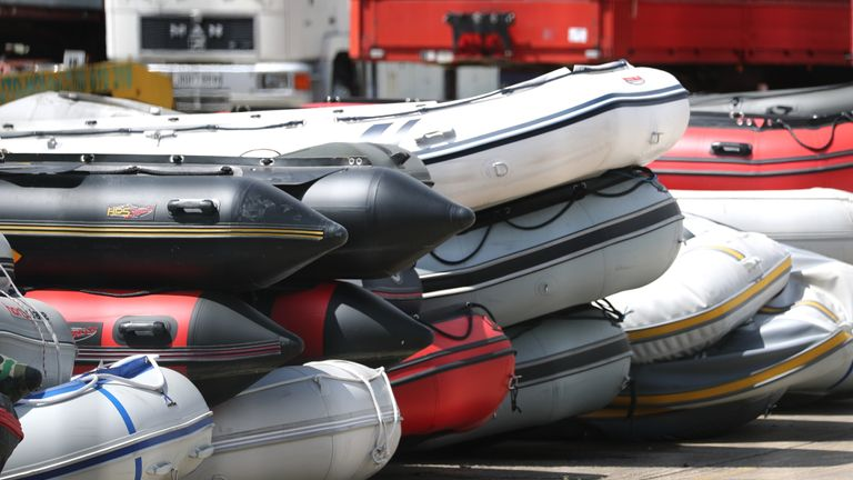 Boats in a secure compound in Dover which have been seized after being intercepted in the Channel while carrying migrants from the French coast to England.