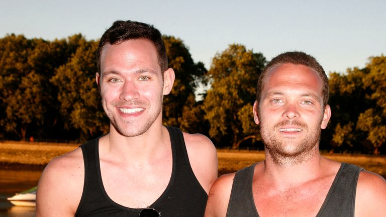 LONDON - AUGUST 02:  Singer/actor Will Young (L) and actor Rupert Young take part in The Mood Foundation Thames Pedalo Challenge at Thames Riverside on August 2, 2008 in London, England.  (Photo by Emma Peios/WireImage)