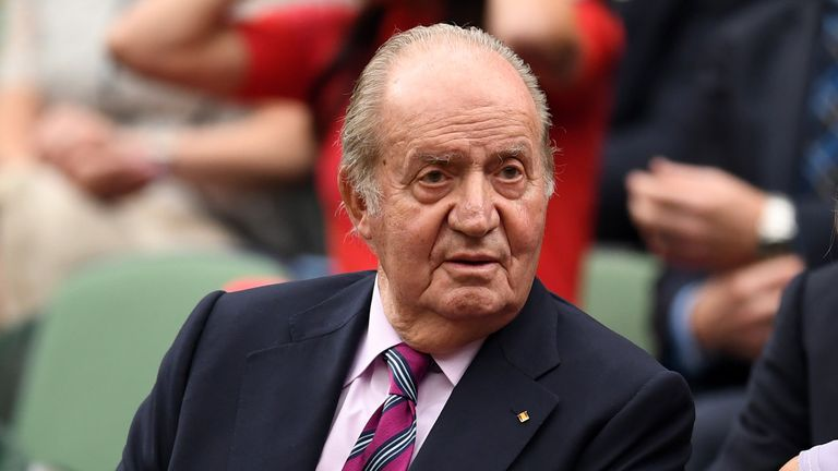 LONDON, ENGLAND - JULY 15:  King Juan Carlos of Spain looks on from the centre court royal box prior to the Ladies Singles final between Venus Williams of The United States and Garbine Muguruza of Spain on day twelve of the Wimbledon Lawn Tennis Championships at the All England Lawn Tennis and Croquet Club at Wimbledon on July 15, 2017 in London, England.  (Photo by David Ramos/Getty Images)