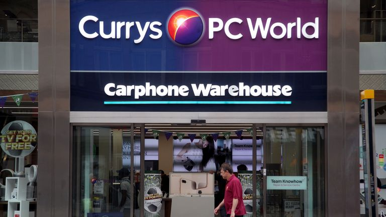 A branch of Currys PC World, with a Carphone Warehouse inside, on Oxford Street, central London.