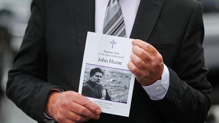 The order of service for the funeral of John Hume at St Eugene's Cathedral in Londonderry.