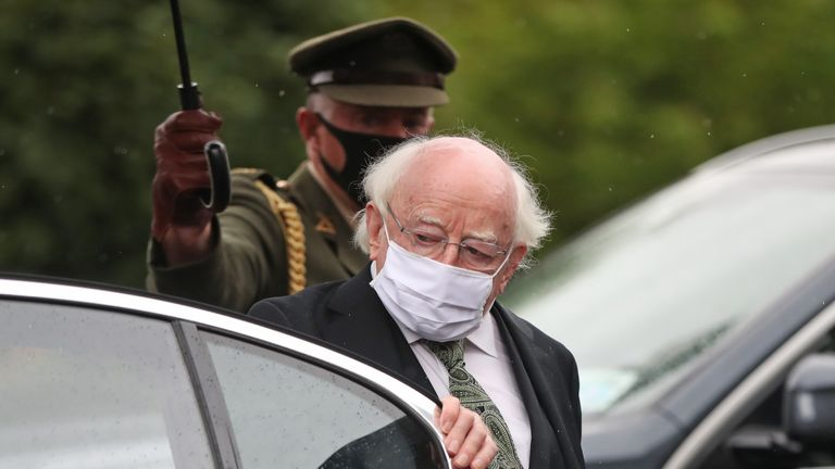 The President of Ireland Michael D. Higgins arrives at St Eugene's Cathedral in Londonderry for the funeral of John Hume.