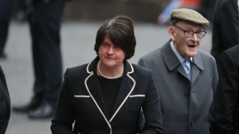 First Minister of Northern Ireland Arlene Foster arrives at St Eugene's Cathedral in Londonderry, ahead of the funeral of John Hume.