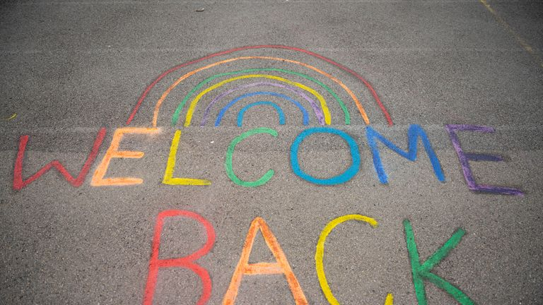 "CARDIFF, WALES - JUNE 29: A sign saying ""welcome back"" and a rainbow on the floor at Roath Park Primary School on June 29, 2020 in Cardiff, Wales. Schoolchildren of all years will be able to return after months of pandemic-inspired closure, but only a third of a school's pupils will be allowed to attend at once. Due to Wales' devolved governance, the decision to reopen schools rested with its education minister, not the British government. (Photo by Matthew Horwood/Getty Images)"