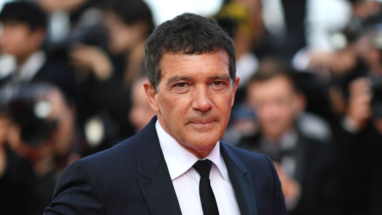 "Spanish actor Antonio Banderas poses as he arrives for the screening of the film ""The Specials (Hors Normes)"" at the 72nd edition of the Cannes Film Festival in Cannes, southern France, on May 25, 2019. (Photo by LOIC VENANCE / AFP) (Photo by LOIC VENANCE/AFP via Getty Images)"