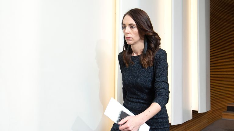 WELLINGTON, NEW ZEALAND - JULY 22: Prime Minister Jacinda Ardern makes an exit after a press conference at Parliament on July 22, 2020 in Wellington, New Zealand. Prime Minister Jacinda Ardern has announced the dismissal of Iain Lees-Galloway as a minister over an inappropriate relationship with a former staffer.  (Photo by Hagen Hopkins/Getty Images)