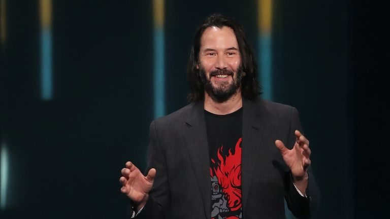 "LOS ANGELES, CALIFORNIA - JUNE 09:  Actor Keanu Reeves speaks about ""Cyberpunk 2077"" from developer CD Projekt Red during the Xbox E3 2019 Briefing at The Microsoft Theater on June 09, 2019 in Los Angeles, California. (Photo by Christian Petersen/Getty Images)"