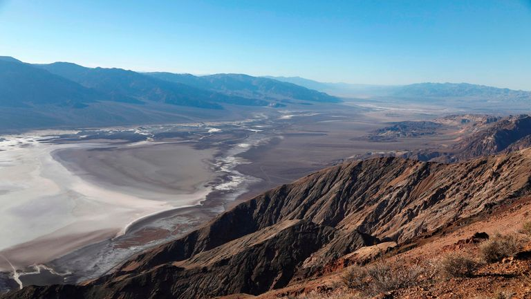A general view from Dante's View in Death Valley National Park in Death Valley, California on February 14, 2017. / AFP PHOTO / RHONA WISE        (Photo credit should read RHONA WISE/AFP via Getty Images)