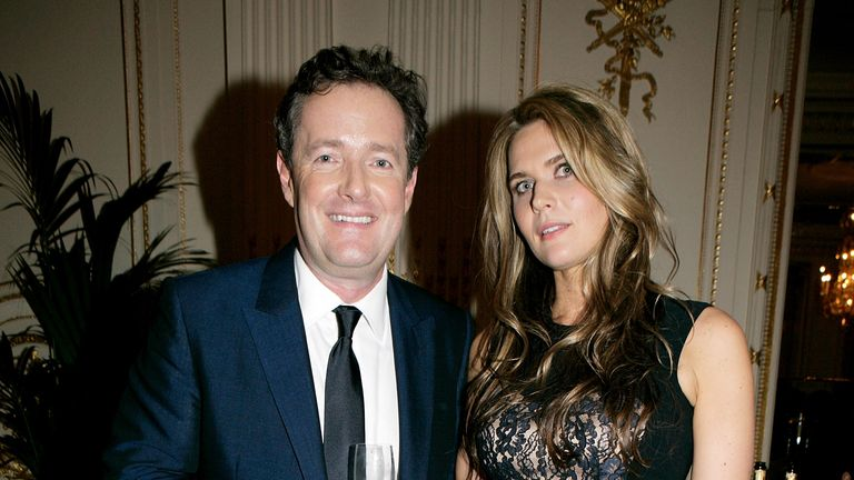 LONDON, ENGLAND - DECEMBER 07: (EMBARGOED FOR PUBLICATION IN UK TABLOID NEWSPAPERS UNTIL 48 HOURS AFTER CREATE DATE AND TIME. MANDATORY CREDIT PHOTO BY DAVE M. BENETT/GETTY IMAGES REQUIRED) Piers Morgan (L) and wife Celia Walden attend the 'Piers Morgan Tonight' CNN launch party at the Mandarin Oriental Hotel on December 7, 2010 in London, England. (Photo by Dave M. Benett/Getty Images)