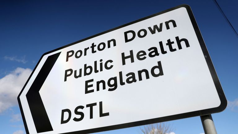 A sign for Porton Down, a science park near Salisbury which contains Public health England and the Defence Science and Technology Laboratory whose scientists are thought to have been helping police investigating the circumstances in which former Russian double agent Sergei Skripal was found critically ill after exposure to an unknown substance.