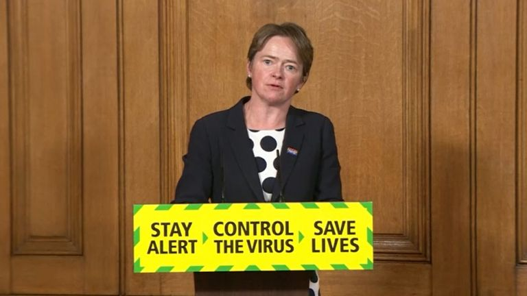 Screen grab of Baroness Dido Harding, executive chairwoman of NHS Test and Trace, during a media briefing in Downing Street, London, on coronavirus (COVID-19).