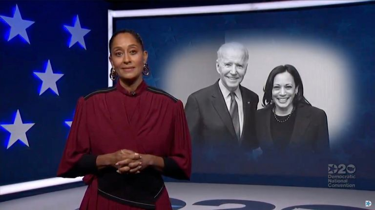 MILWAUKEE, WI - AUGUST 18: In this screenshot from the DNCC's livestream of the 2020 Democratic National Convention, actress and activist Tracee Ellis Ross speaks in front of photo of Presumptive Democratic presidential nominee former Vice President Joe Biden and Presumptive Democratic vice presidential nominee, U.S. Sen. Kamala Harris during the virtual convention on August 18, 2020.  The convention, which was once expected to draw 50,000 people to Milwaukee, Wisconsin, is now taking place virtually due to the coronavirus pandemic.  (Photo by DNCC via Getty Images)  (Photo by Handout/DNCC via Getty Images)