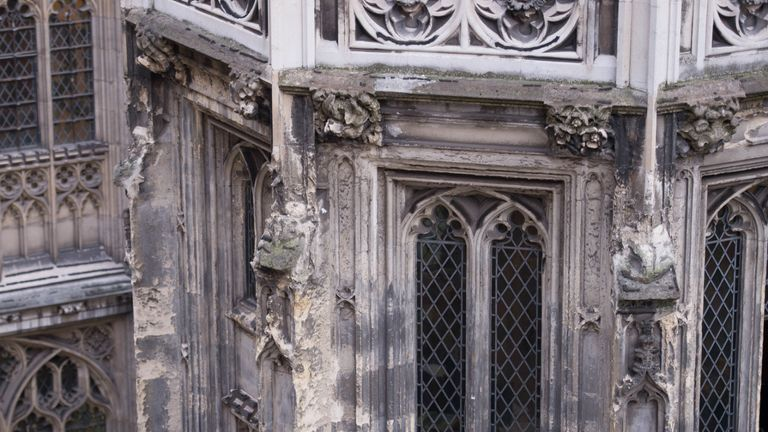 Crumbling stonework on the exterior of the Palace of Westminster, as MPs have been warned that it needs to be evacuated for multibillion-pound emergency repairs if it is to avoid the increasing risk of being ravaged by fire or swamped in a sewerage flood.