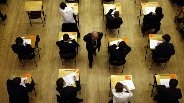 "File photo dated 07/03/12 of a general view of pupils sitting an exam. Boris Johnson is facing calls to take charge of the growing A-levels ""fiasco"" amid mounting anger among students, teachers and MPs."