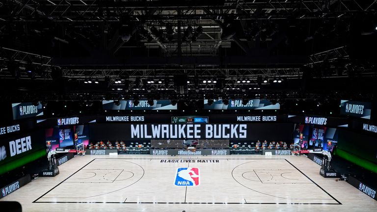 LAKE BUENA VISTA, FLORIDA - AUGUST 26: The court and benches are empty after the scheduled start of game five between the Milwaukee Bucks and the Orlando Magic in the first round of the 2020 NBA Playoffs at AdventHealth Arena at ESPN Wide World Of Sports Complex on August 26, 2020 in Lake Buena Vista, Florida. According to reports, the Milwaukee Bucks have boycotted their game 5 playoff game against the Orlando Magic to protest the shooting of Jacob Blake by Kenosha, Wisconsin police. NOTE TO USER: User expressly acknowledges and agrees that, by downloading and or using this photograph, User is consenting to the terms and conditions of the Getty Images License Agreement. (Photo by Ashley Landis-Pool/Getty Images)