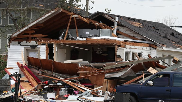 LAKE CHARLES, LOUISIANA - AUGUST 27:  A damaged home is seen after Hurricane Laura passed through the area on August 27, 2020 in Lake Charles, Louisiana . The hurricane hit with powerful winds causing extensive damage to the city. (Photo by Joe Raedle/Getty Images)
