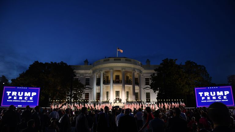 The South Lawn of the White House is pictured ahead of US President Donald Trump's acceptance speech for the Republican Party nomination for reelection during the final day of the Republican National Convention in Washington, DC on August 27, 2020. (Photo by Brendan Smialowski / AFP) (Photo by BRENDAN SMIALOWSKI/AFP via Getty Images)