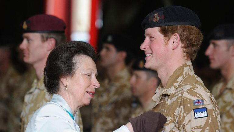 File photo dated 05/05/08 of the Princess Royal presenting the Duke of Sussex with his campaign medal. Anne celebrates her 70th birthday on Saturday.