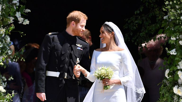 File photo dated 19/05/18 of Prince Harry and Meghan Markle leaving St. George's Chapel in Windsor Castle after their wedding. One hundred days have passed since the Duke and Duchess of Sussex quit as senior working royals. The move dubbed Megxit came into effect on March 31, when Harry and Meghan stopped using their HRH titles.