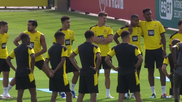 Jadon Sancho trained with his Borussia Dortmund team-mates, including Jude Bellingham, on Monday