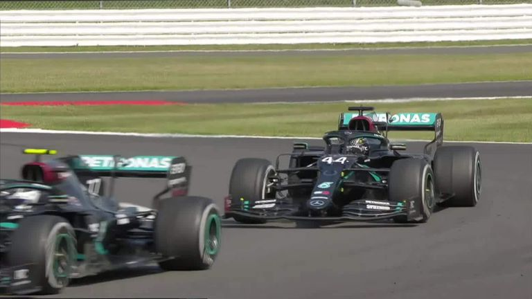 Lewis Hamilton goes around the outside of Brooklands, an easy overtake in the end as he moved to second ahead of team-mate Valtteri Bottas!