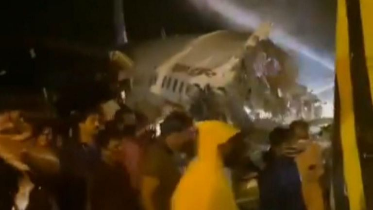 40 passengers are are believed to be injured and two feared dead after a plane landing at Calicut Airport skids off a runway.