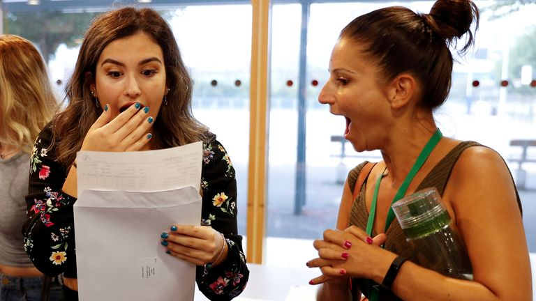 Students receive their A-Level results at Ark Academy in London