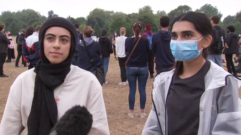 Noor Abdin (left) and Safaa Badar said they were left angry by the exam result row
