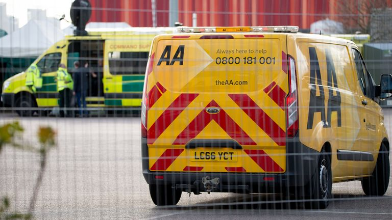 An AA van outside the ExCeL centre in London