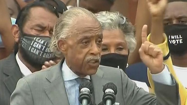 Reverend Al Sharpton speaking in Washington DC