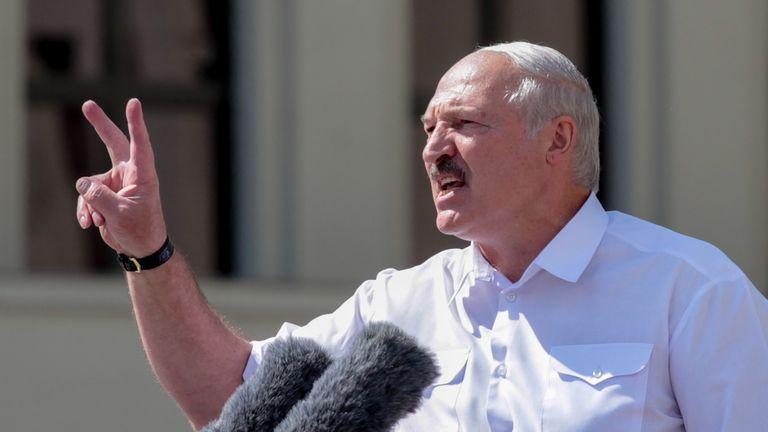 Alexander Lukashenko speaking in Minsk on Sunday