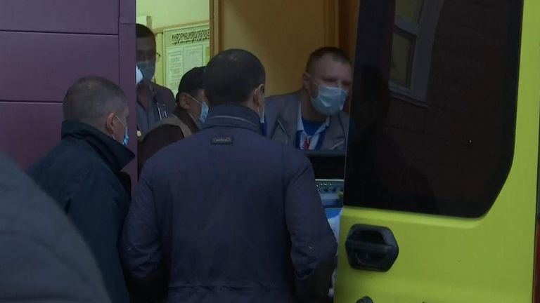 Alexei Navaly is transferred to an ambulance from Omsk hospital in Siberia and being driven to airport, his spokeswoman, Kira Yarmysh, said on Twitter