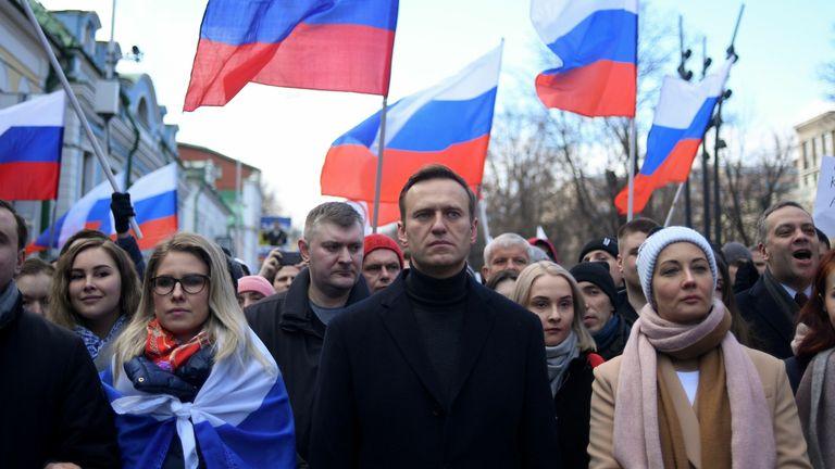 Alexei Navalny marching in memory of murdered Kremlin critic Boris Nemtsov in Moscow in February
