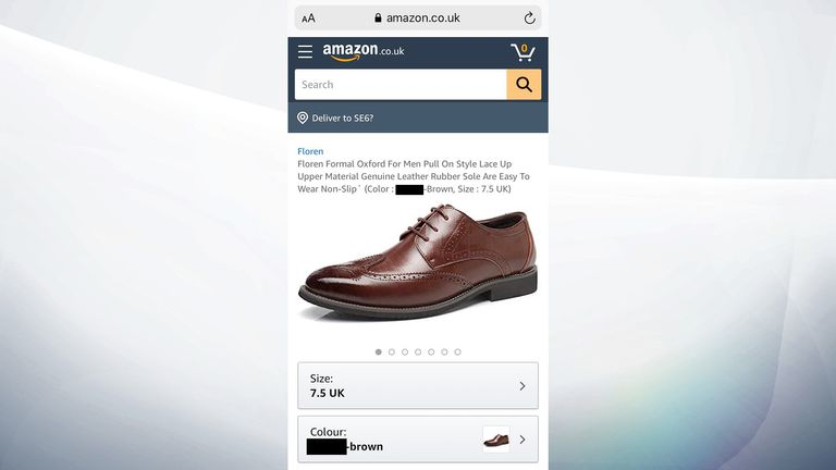 A pair of shoes for sale on Amazon with an offensive description