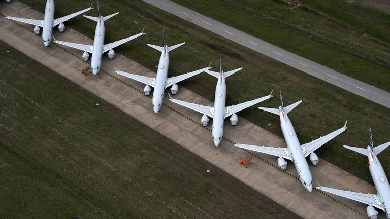 American Airlines 737 max passenger planes are parked on the tarmac at Tulsa International Airport in Tulsa, Oklahoma, U.S. March 23, 2020