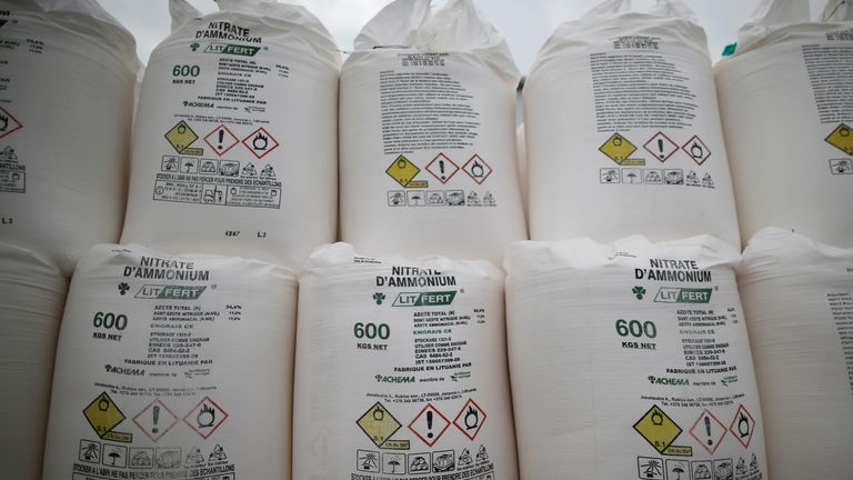 Bags containing ammonium nitrate fertiliser at an agricultural trader in France