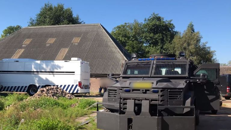 Dutch police raided a former horse riding school 75 miles northeast of Amsterdam. Pic: Politie Landelijke Eenheid