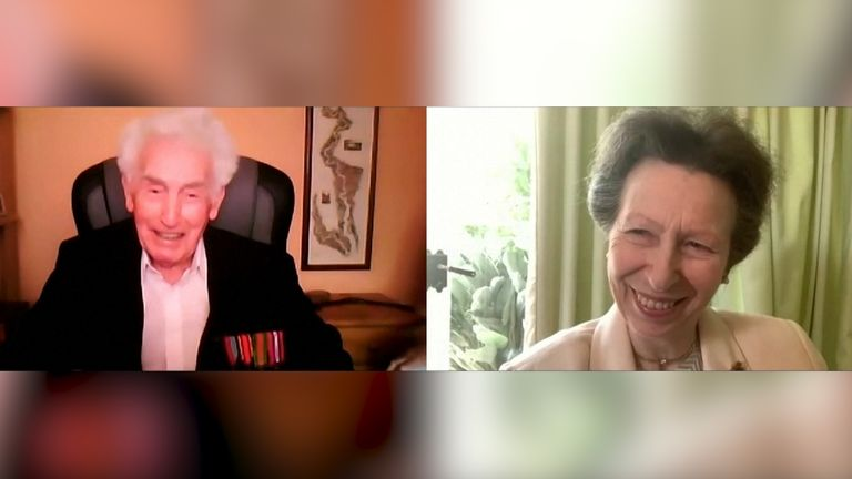 WWII veteran jokes with Princess Anne