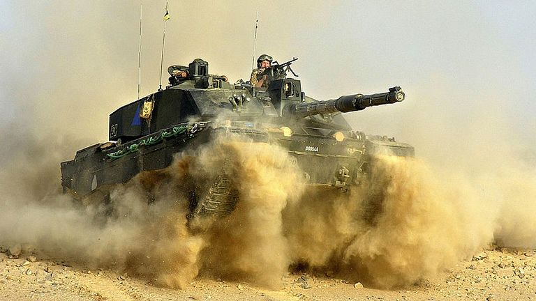 394963 06: The battle tank Challenger 2 of the 3rd Troop ''D'' Squadron of the Royal Dragoon Guards (RDG) ploughs through the sand September 25, 2001 north of Thumbrait, Oman. The squadron is taking part in exercise Saif Sareea II, a bi-lateral military exercise in Oman in which more than 20,000 troops have been deployed from Britain and Germany to train alongside Omani forces in a variety of roles. (Photo by Pete Bristo/British Army/Getty Images)