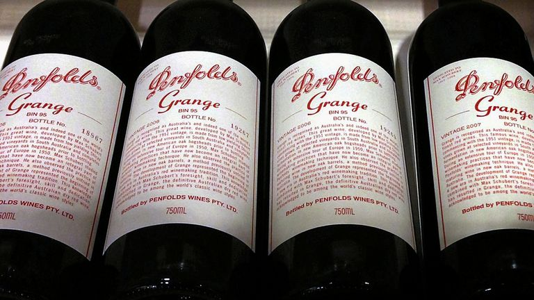 Bottles of Penfolds Grange, made by Australian wine maker Penfolds and owned by Australia's Treasury Wine Estates, sit on a shelf for sale at a wine shop in central Sydney, Australia, August 4, 2014