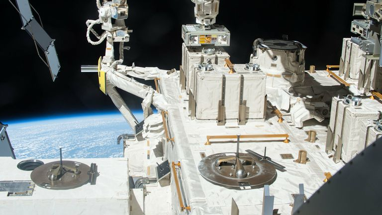 The bacterial exposure experiment took place from 2015 to 2018 using the Exposed Facility located on the exterior of Kibo, the Japanese Experimental Module of the International Space Station. Credit: JAXA/NASA