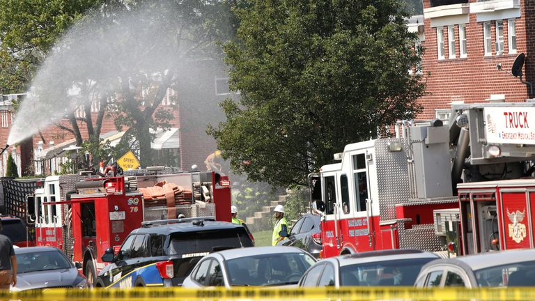 Fire vehicles on the scene of the explosion