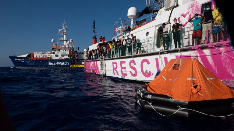 Sea Watch 4 had to rescue 150 migrants from the Louise Michel after it became overloaded and could not safely move