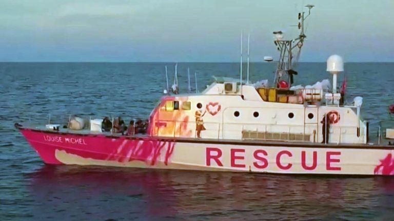 The Italian Coastguard has helped dozens of people stranded on a Banksy-funded refugee rescue boat in the Mediterranean.