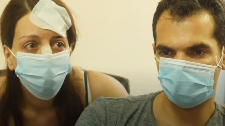 Parents of four-day-old baby wait anxiously in a Beirut hospital for news of their daughter, injured in explosion
