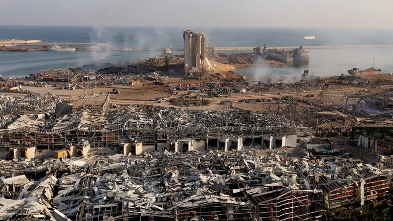 A general view shows the damage at the site of Tuesday's blast in Beirut's port area, Lebanon August 5, 2020. REUTERS/Mohamed Azakir