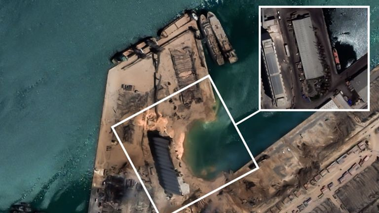 An aerial view of the damage at the port. Pic: European Space Imaging